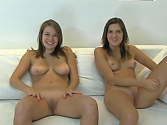 Two Naughty Teens Strip For Casting And Get Fucked On A Couch